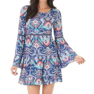 NWT - Wrangler Rock 47 | Pattern Bell Sleeve Dress